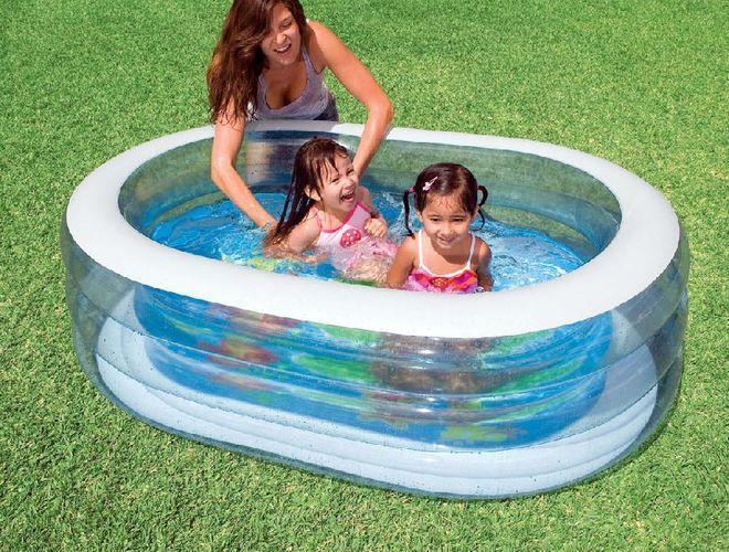 Детский овальный надувной бассейн Intex 57482 прозрачный 165 см х 107 см х 46 см
