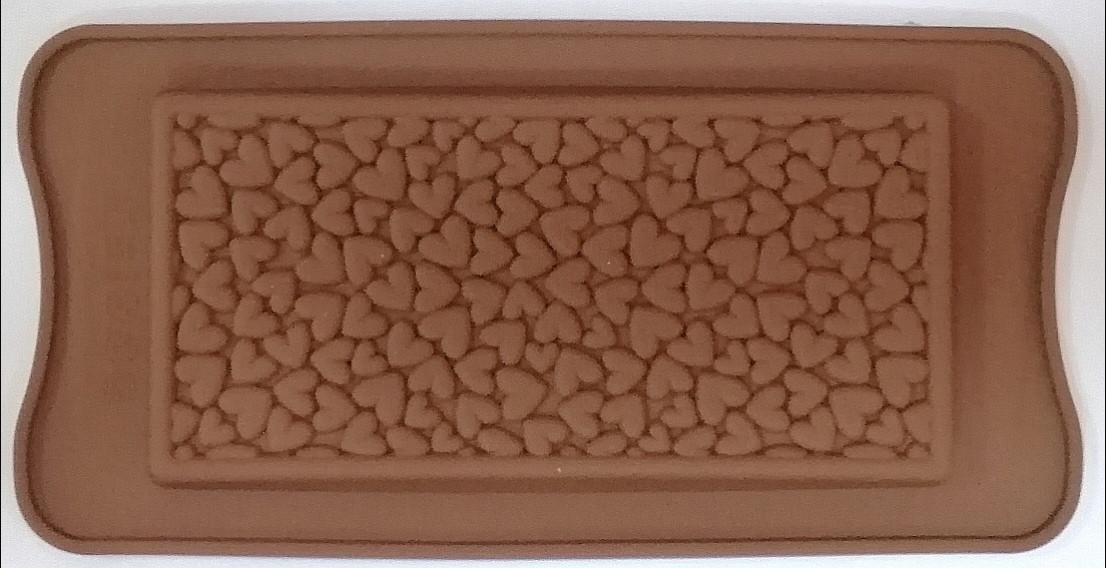 Силиконовая форма 21*10,5 см, Плитка Шоколада - Сердечки