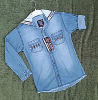 Стильная джинсовая рубашка на 8-12 лет