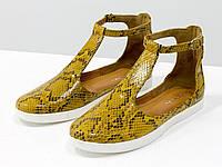 Удобные и легкие летние туфли в из эксклюзивной натуральной итальянской кожи горчичного цвета, фото 1