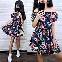 Пышное короткое платье со спущенными плечами, фото 1