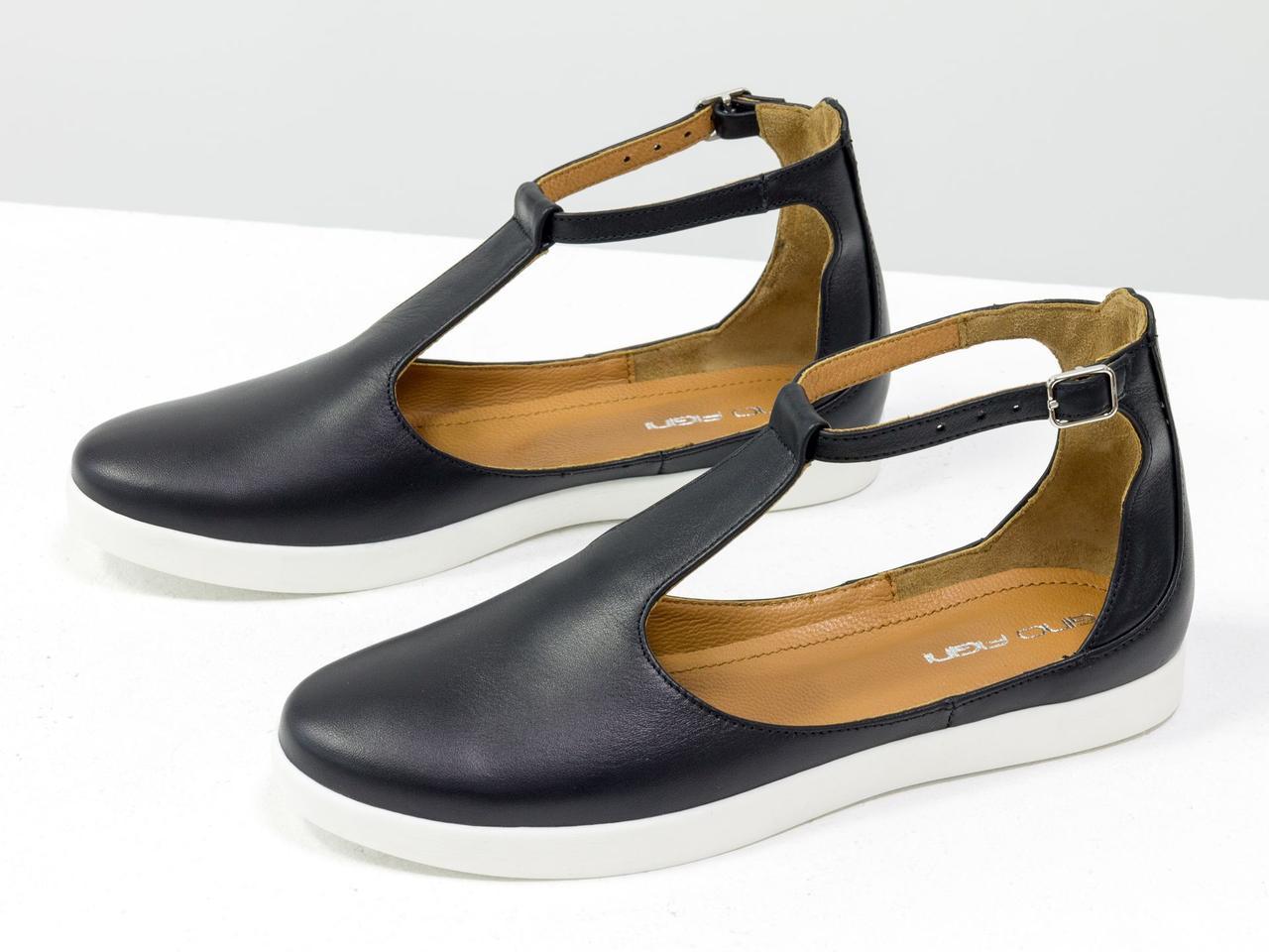 Удобные и легкие летние туфли в спортивном стиле из натуральной кожи черного цвета