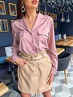 Женская кожаная юбка (3 цвета)