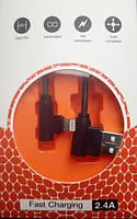 Угловой кабель для зарядки мобильных телефонов Lightning Sertec |1m, 2.4A|, фото 1