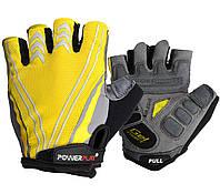 Велоперчатки мужские PowerPlay, Amara, Laycra, р-р ХS-2XL, желтый (5007C)