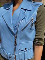 Кожаный жилет голубой, фото 1