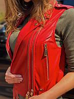 Червоний шкіряний жилет, фото 1
