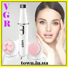 Массажер для лица VGR V-800 с насадками,  Массажная щетка для чистки кожи, для пилинга, Mini Massager