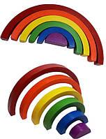 Дерев'яна HEGA  ВЕСЕЛКА 6 кольорів збірна головоломка пазл конструктор для дітей