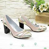 Туфли женские лаковые на высоком каблуке, цвет золото/пудра, фото 2