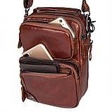 Коричнева шкіряна сумка через плече з шкіри 1010B, фото 7