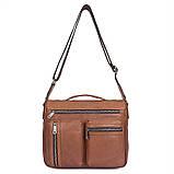 Удобная мужская кожаная сумка коричневая 1019B, фото 4