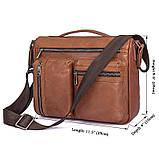 Удобная мужская кожаная сумка коричневая 1019B, фото 9