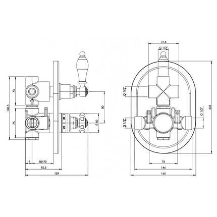Смеситель для ванны термостатический Bianchi Termostatici INDTRM207400#CRM скрытого монтажа, фото 2
