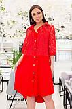 Прямое платье рубашечного кроя на пуговицах с отделкой из гипюра, р.48-50,52-54,56-58,60-62 Код 731Д, фото 7