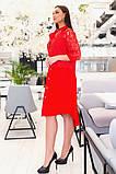 Прямое платье рубашечного кроя на пуговицах с отделкой из гипюра, р.48-50,52-54,56-58,60-62 Код 731Д, фото 8