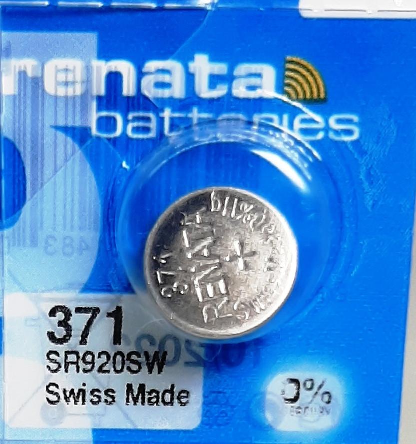 Батарейка для часов. Renata SR920SW (371) 1.55V 39mAh 9,5x2.05mm.Серебрянно-цинковая