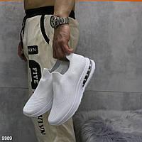 Мужские белые текстильные кроссовки без шнурков
