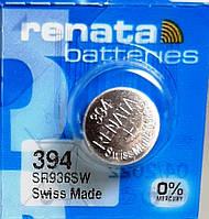Батарейка для часов. Renata SR936SW (394) 1.55V 71mAh 9,5x3,6mm. Серебрянно-цинковая