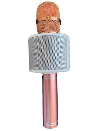 Караоке микрофон с Bluetooth колонкой WSTER WS-858 Rose Gold White, фото 2