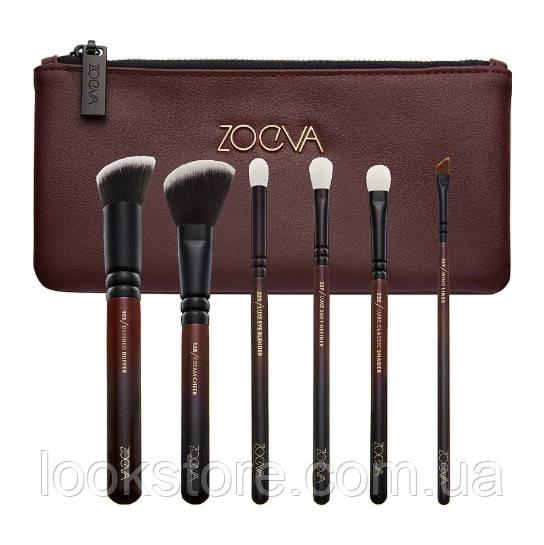 Набор кистей ZOEVA Classic Queens Guard Brush Set X6 марсала 6 шт