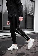 Классические черные мужские штаны в полоску трикотаж