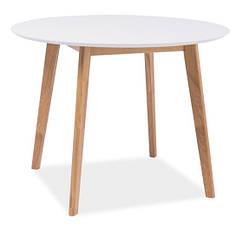 Стол круглый деревянный кухонный обеденный на кухню столовый белый дуб MOSSO II 100х100 (Signal)