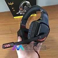 Игровые наушники с микрофоном Ovleng GT96 с RGB подсветкой геймерские для компьютера и ноутбука красные