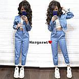 Женский стильный джинсовый костюм брючный с узором (3 цвета), фото 2