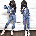 Женский стильный джинсовый костюм брючный с узором (3 цвета), фото 5