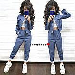 Женский стильный джинсовый костюм брючный с узором (3 цвета), фото 7