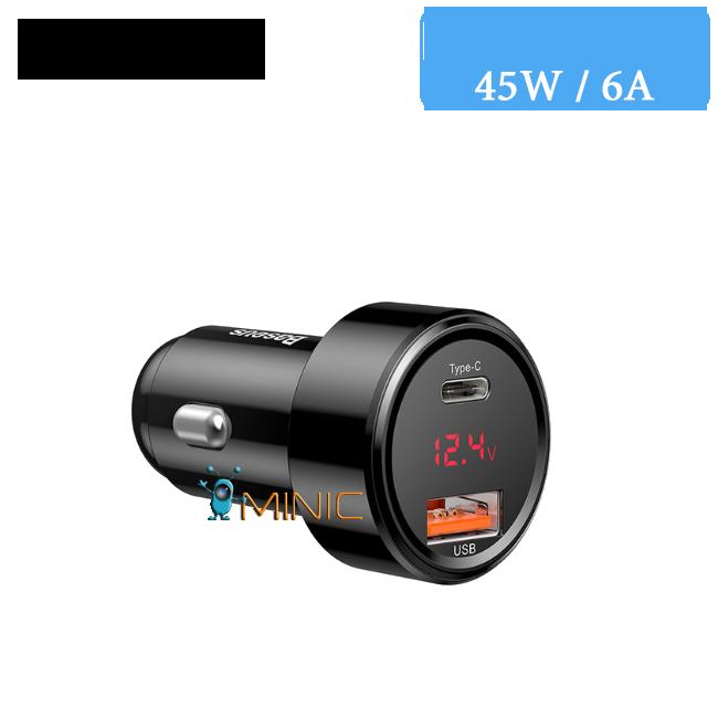Автомобильное зарядное устройство Baseus Car Charger 45Вт / 6А QC 4.0 Type-C+USB (BS-C20A)