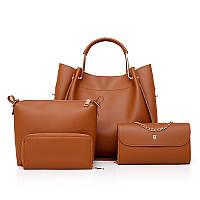 Набор женских сумок 4в1 коричневый из качественной экокожи, уценка, фото 1