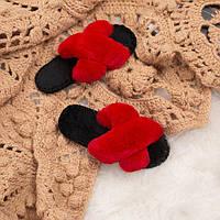 Красные женские пушистые тапочки Family c мехом, 36-37
