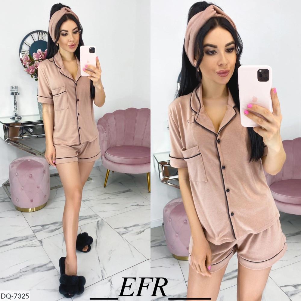 Пижама женская (рубашка+шорты+повязка)