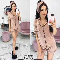 Пижама женская (рубашка+шорты+повязка), фото 1