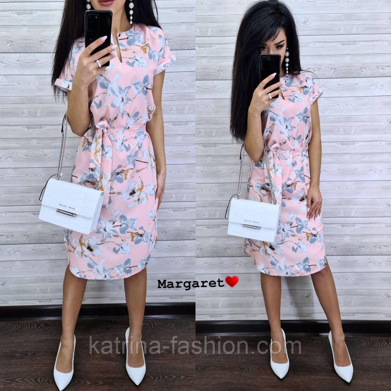 Женский летнее платье-миди в расцветках с цветочным принтом (в расцветках)