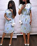 Женское легкое летнее платье с поясом (расцветки), фото 3