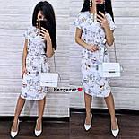 Жіноче легке літнє біле плаття з поясом софт з квітковим візерунком, фото 2