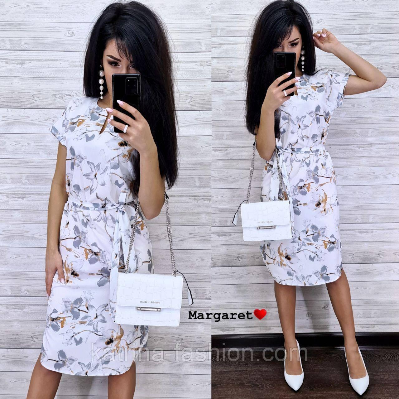 Жіноче легке літнє біле плаття з поясом софт з квітковим візерунком