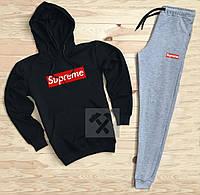 Спортивный мужской костюм Supreme (Супрем), черный верх, серые штаны, код OW-2047