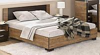 Вероника Кровать 140х200 с ламелями Мебель Сервис (203.6х146.4х85.2 см) Дуб април + Венге темный