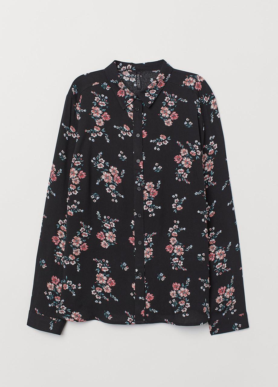 Черная цветочной расцветки блузка H&M демисезонная