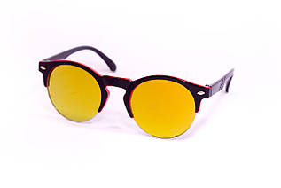 Детские очки круглые  0433-3 черно-малиновые