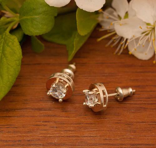 Серебряные серьги Арт. 546 с, Фианит, вес 1.87 г, размер 8x8 мм, Золото 375 вес 0.10 г, Общий вес 2.34 г
