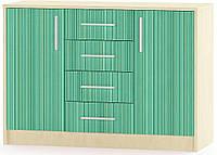 Симба Комод 2Д4Ш МЕБЕЛЬ СЕРВИС (106.2х38.5х74.9 см) Зеленый