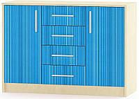 Симба Комод 2Д4Ш МЕБЕЛЬ СЕРВИС (106.2х38.5х74.9 см) Синий