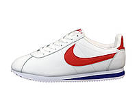 """Кроссовки кожаные мужские Nike Cortez """"Белые с красным"""" р. 41-45"""