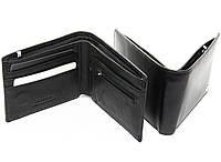 Портмоне кошелек на магните натуральная кожа чёрный, фото 1
