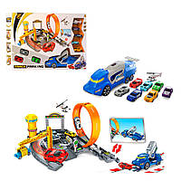 Трек (детский авто трек) c запуском и трюковыми кругами (горками),машинка 8шт, на запуске, P876-A
